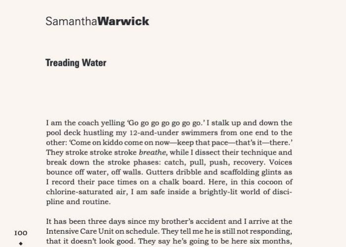 Treading Water by Samantha Warwick | The Douglas College Review